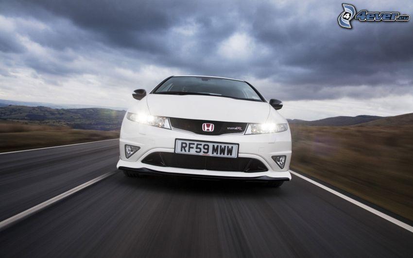 Honda Civic, ulica, prędkość, światła, chmury
