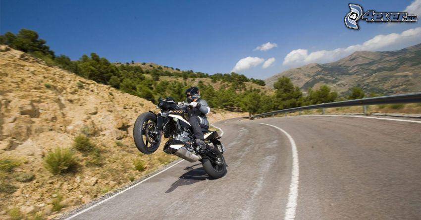 KTM, akrobacje, motocyklista, ulica, wzgórza