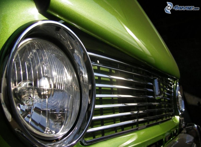 Lada, reflektor, przednia maska, zielony