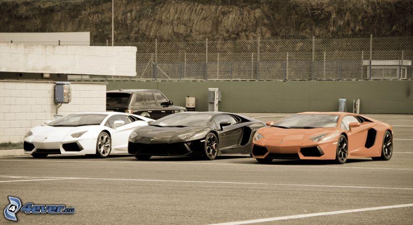 Lamborghini Aventador, parking, ogrodzenie z drutu
