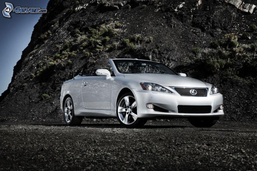 Lexus IS 350, kabriolet, skała