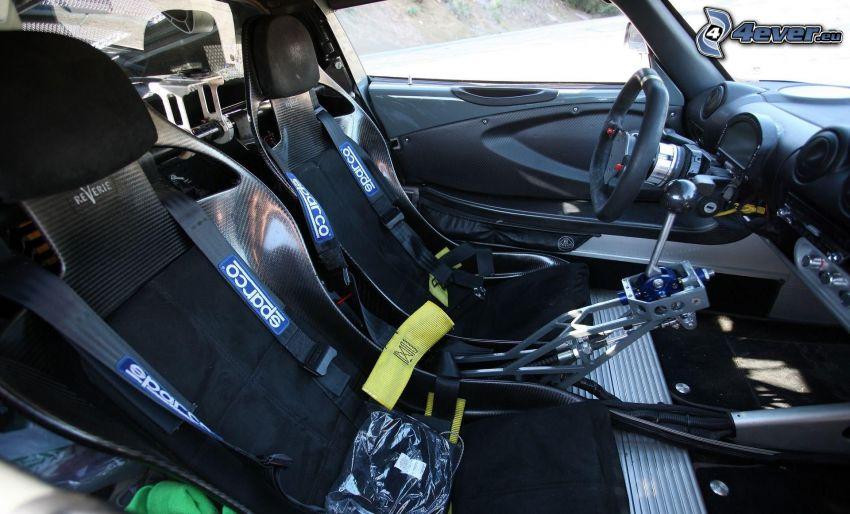 Lotus Exige S, wnętrze, kanapa, kierownica