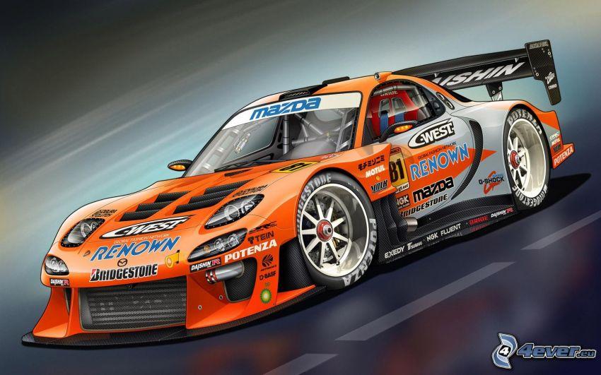 Mazda RX7, rysowany samochód, auta wyścigowe