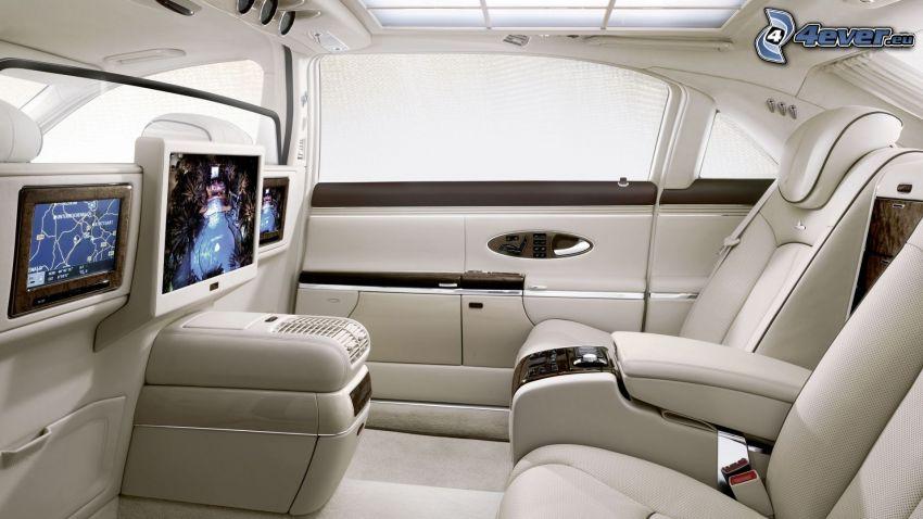 Mercedes, wnętrze, telewizor, kanapa