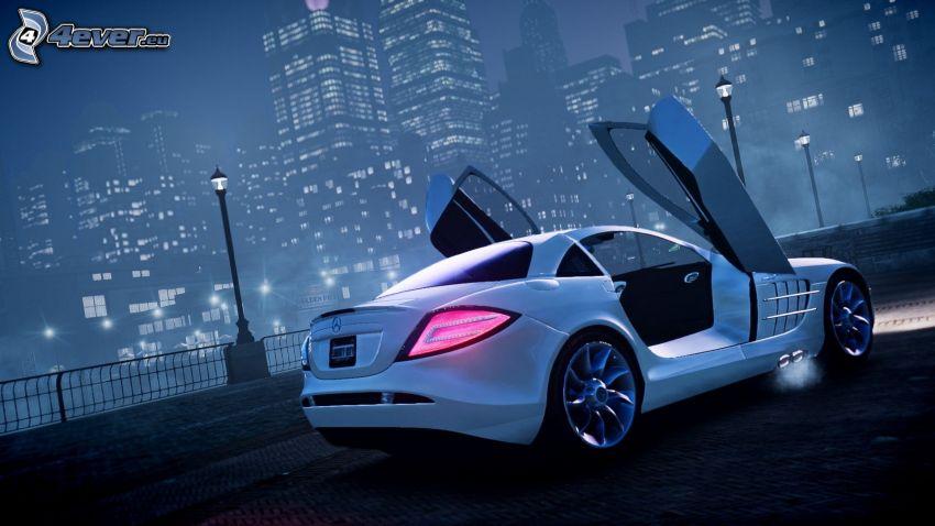 Mercedes-Benz, drzwi, wieżowce, noc, mgła