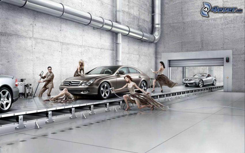 Mercedes-Benz, fabryka, kobiety, mężczyzna w garniturze