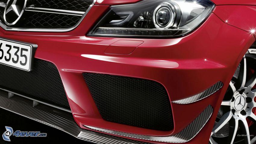 Mercedes-Benz C, przednia maska, reflektor, koło