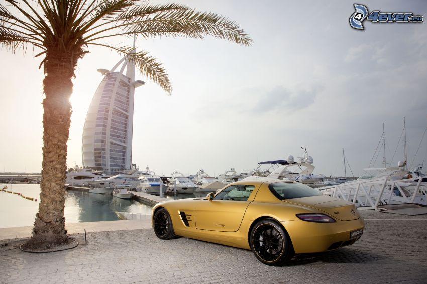 Mercedes-Benz S600, Burj Al Arab, Emiraty Arabskie, palma, port