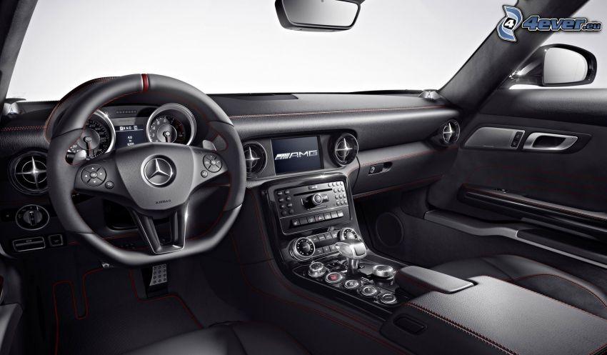 Mercedes-Benz SLS AMG, wnętrze, kierownica, tablica rozdzielcza