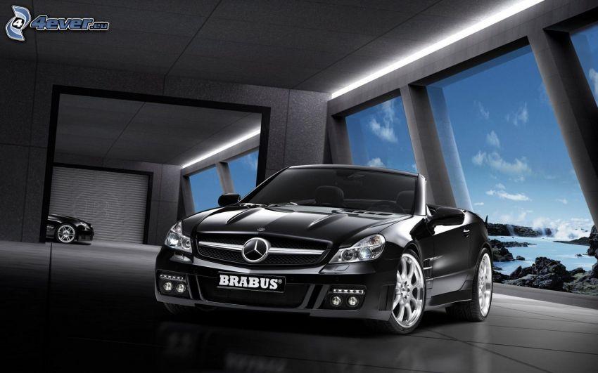 Mercedes Brabus, kabriolet, okno, widok