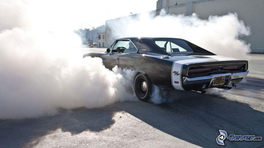 Muscle Car, burnout, weteran, dym