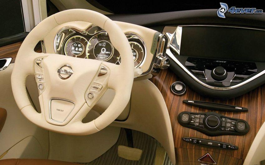 Nissan, wnętrze, kierownica