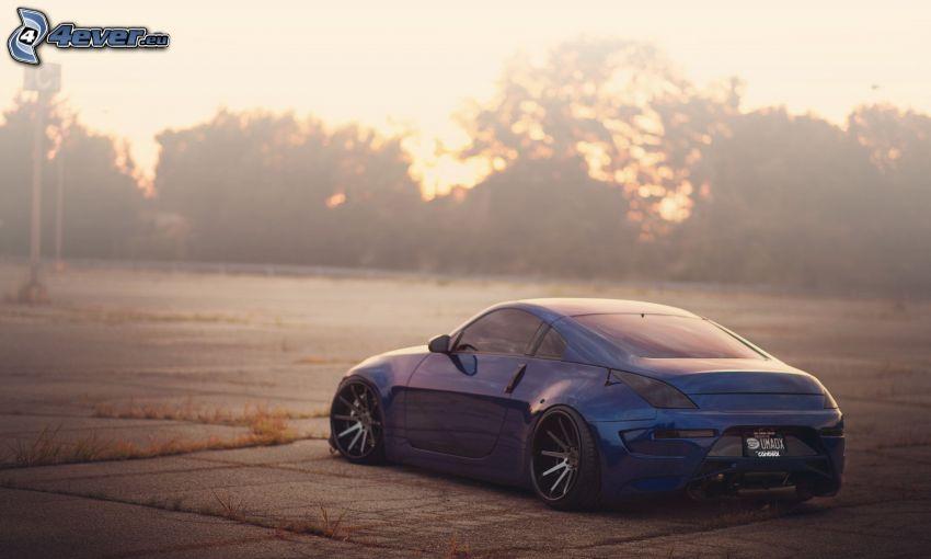 Nissan 350Z, lowrider, tuning, drzewa, wschód słońca