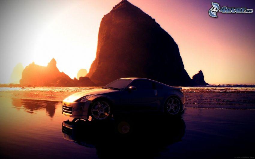 Nissan 350Z, morze, fioletowe niebo