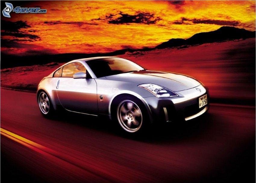 Nissan 350Z, prędkość, zachód słońca