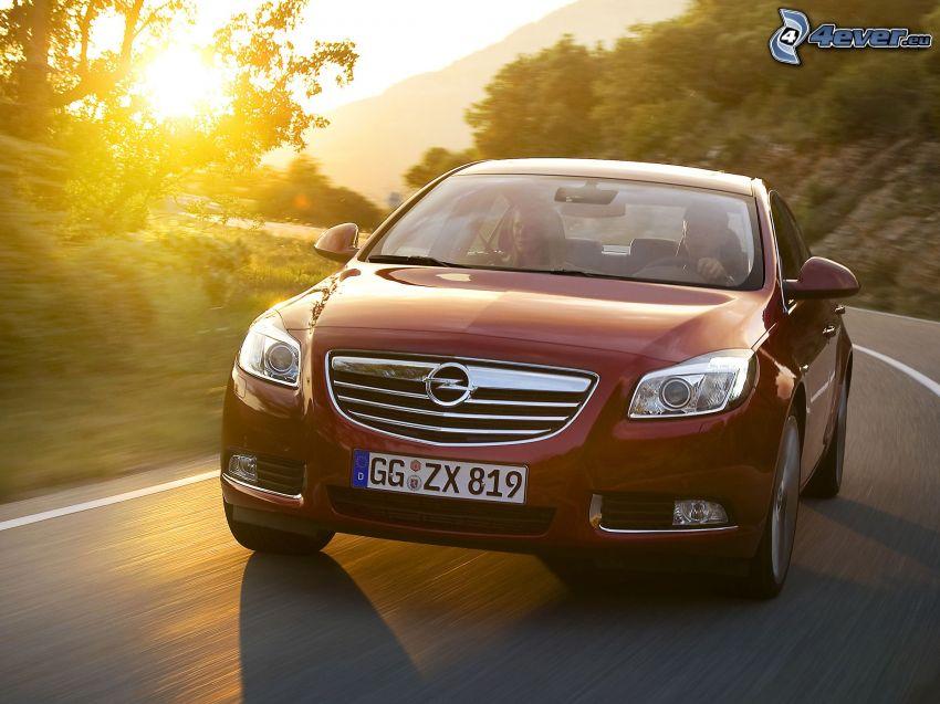 Opel Insignia, zachód słońca, prędkość, zakręt