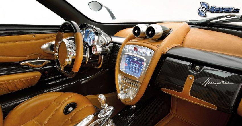 Pagani Huayra, wnętrze, super sportowe, kierownica, tablica rozdzielcza