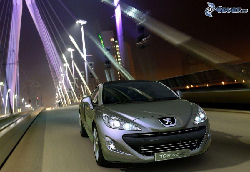 Peugeot 308RCZ, most, prędkość, noc