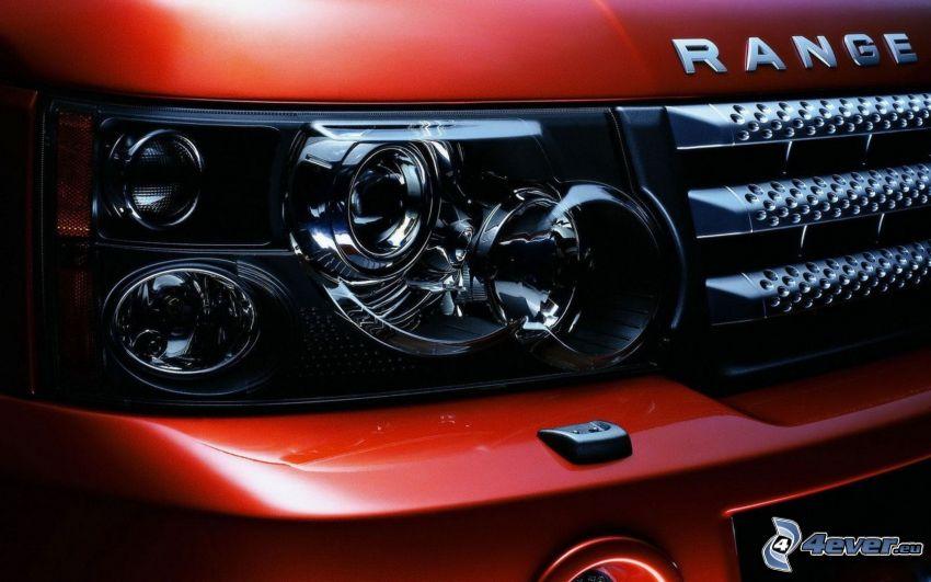 Range Rover, reflektor, przednia maska