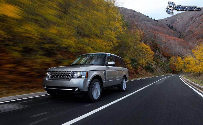Range Rover, ulica, zakręt, prędkość