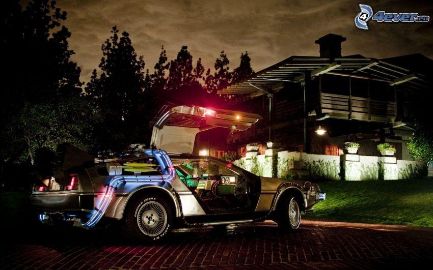 samochód, drzwi, neon, drewniany dom