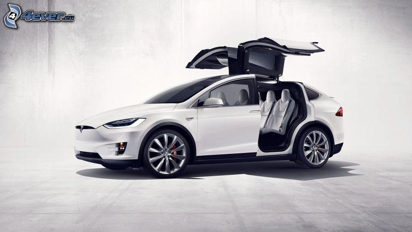 Tesla Model X, drzwi, falcon doors