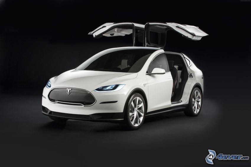 Tesla Model X, projekt, drzwi, falcon doors