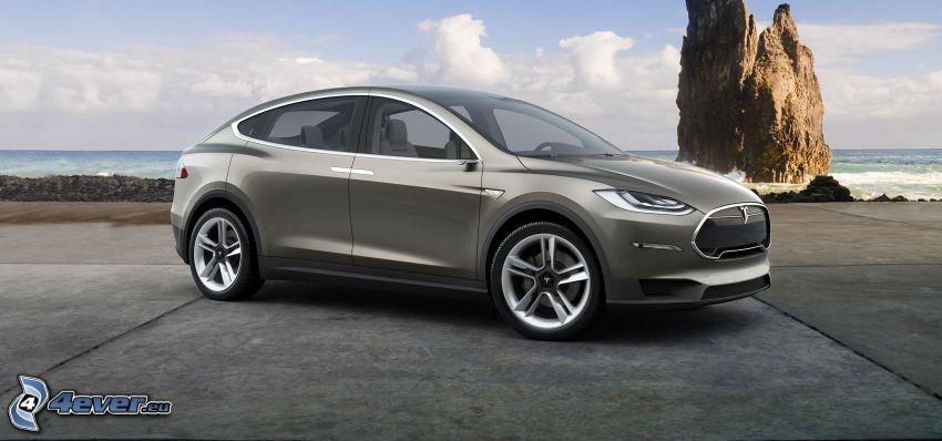 Tesla Model X, projekt, morze otwarte, skała w morzu