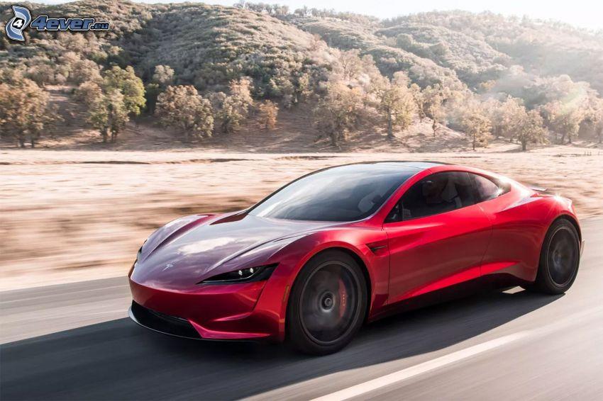 Tesla Roadster 2, prędkość, las