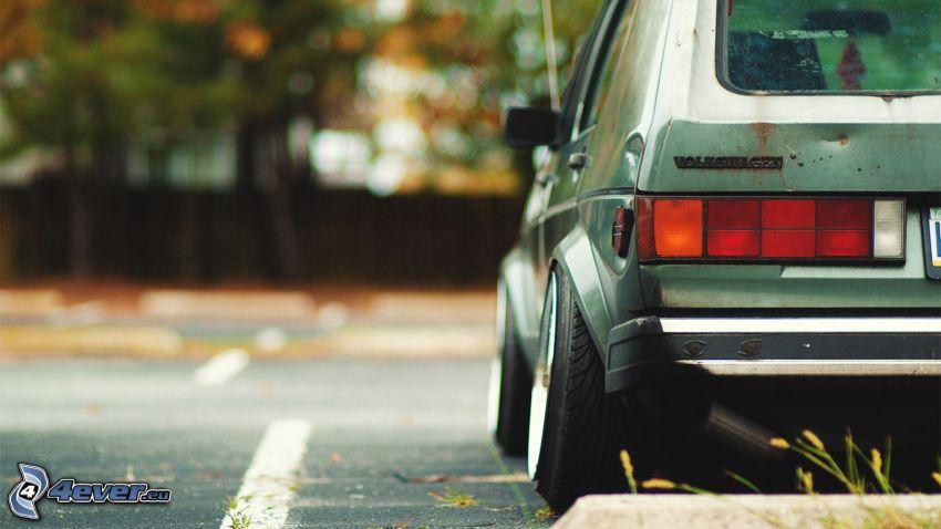 Volkswagen Golf, parking, lowrider