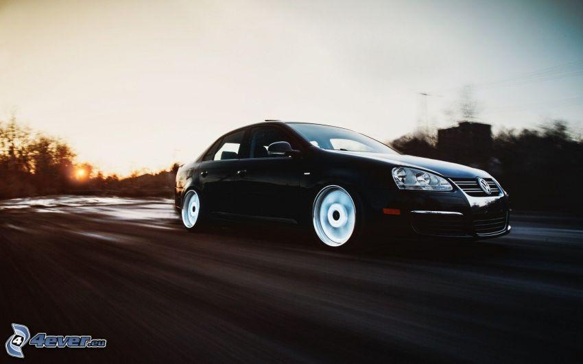 Volkswagen Jetta, prędkość, zachód słońca
