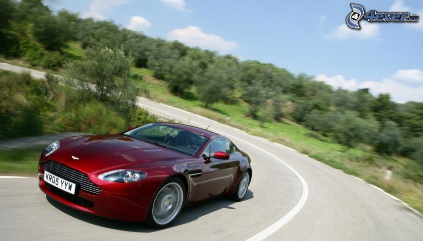 Aston Martin, prędkość, ulica, zakręt