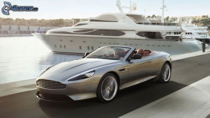 Aston Martin DB9, kabriolet, prędkość, statek