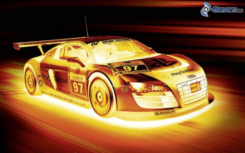 Audi R8, prędkość, światło