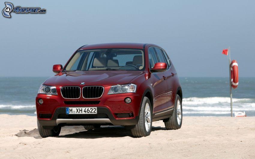 BMW X3, plaża piaszczysta