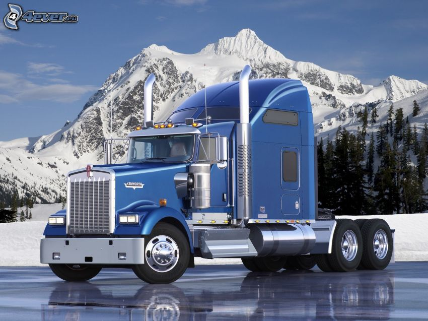 Kenworth K100, amerykańska ciężarówka, zaśnieżona góra