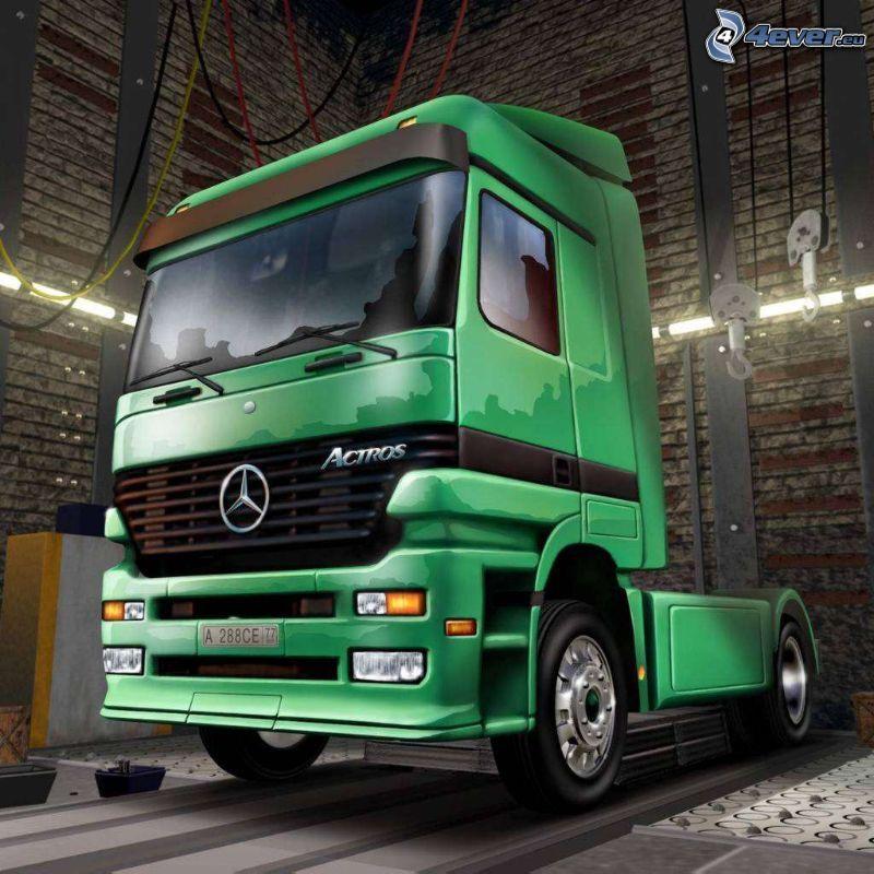 Mercedes, ciągnik, ciężarówka