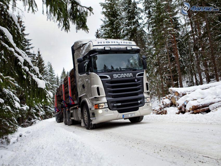 Scania R730, śnieg