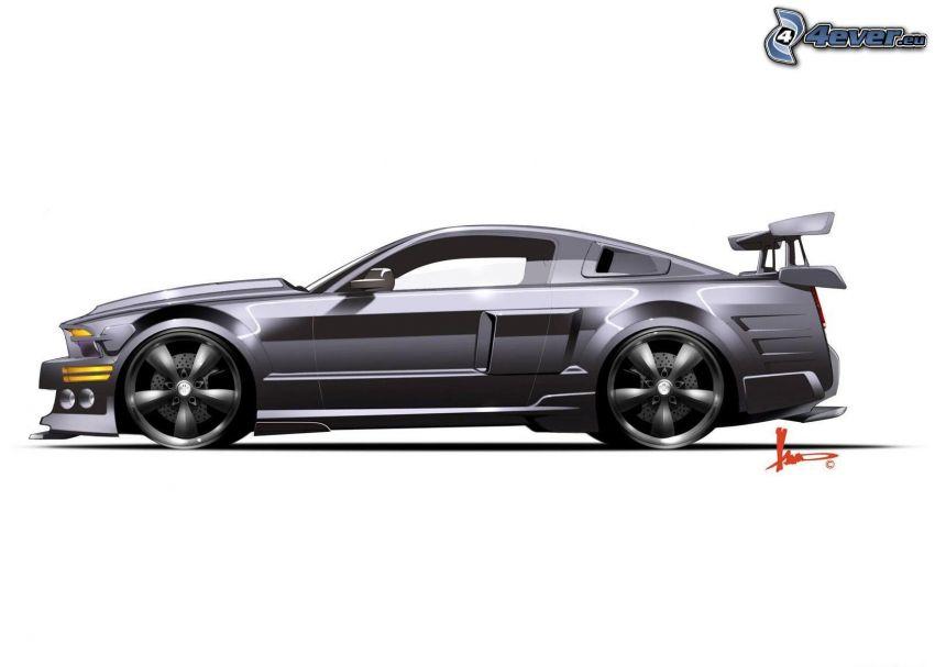 Ford Mustang GT, rysowany samochód