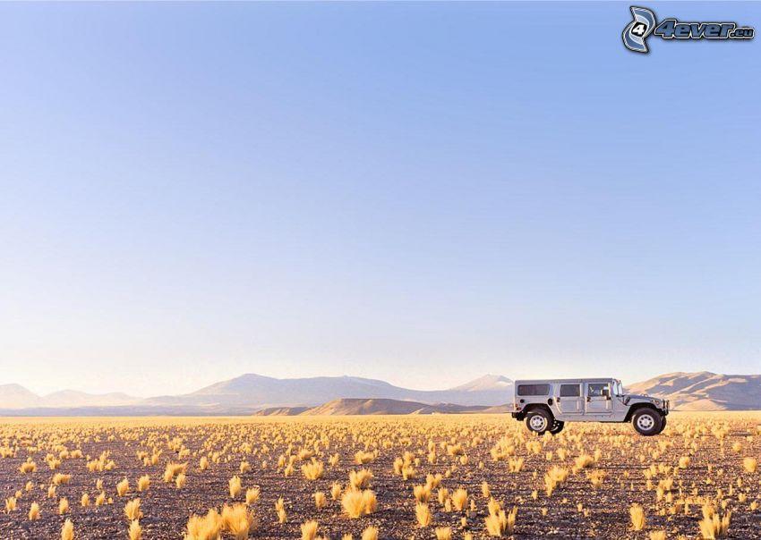 Hummer H1, krajobraz, niebo