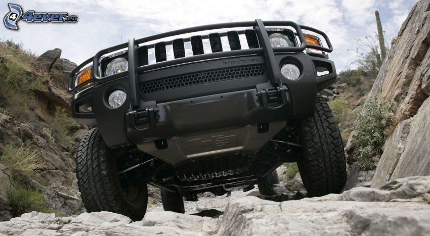 Hummer H3, samochód terenowy, teren, skały