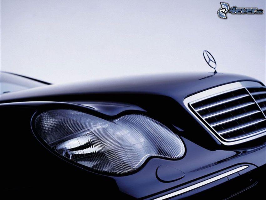 Mercedes, reflektor, przednia maska