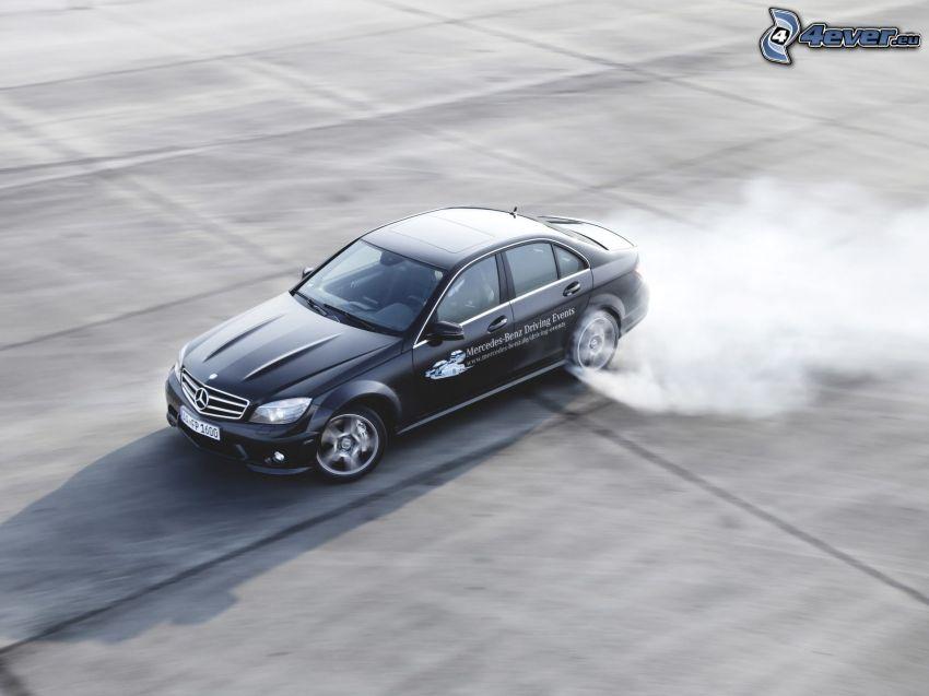 Mercedes-Benz, dryfować, prędkość, dym