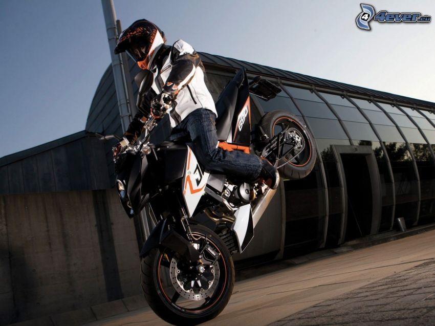 akrobacje, KTM 690 Duke, motocyklista