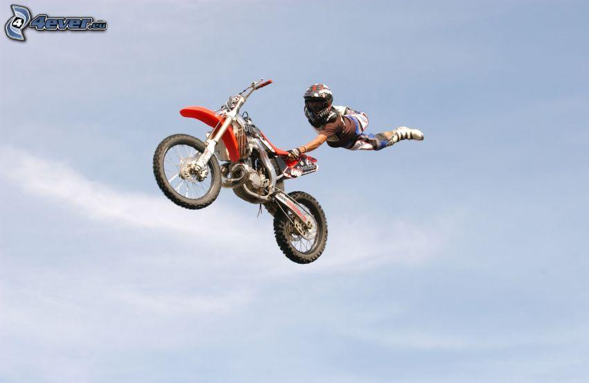 akrobacje, motocykl, motocyklista, wyskok