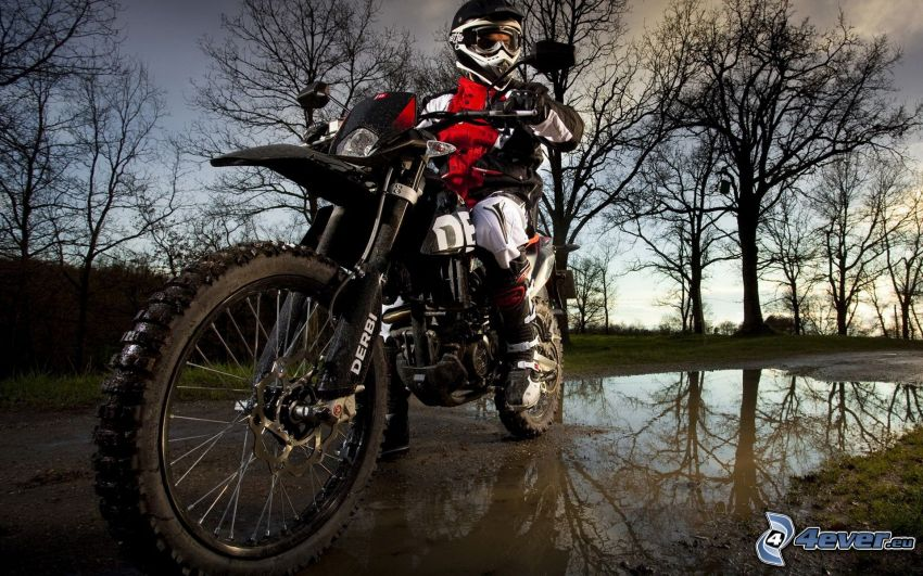 Derbi Senda DRD, motocyklista, kałuża, drzewa, odbicie