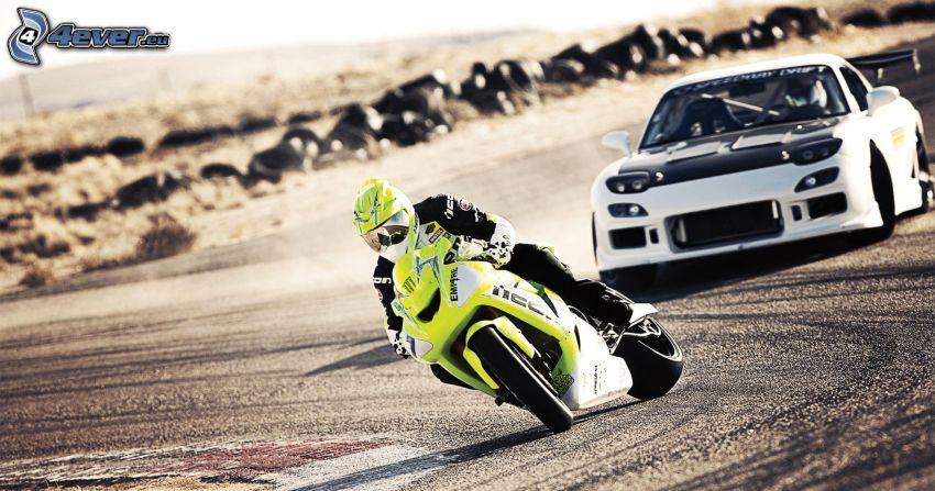 dryfować, motocykl, motocyklista, samochód, pył