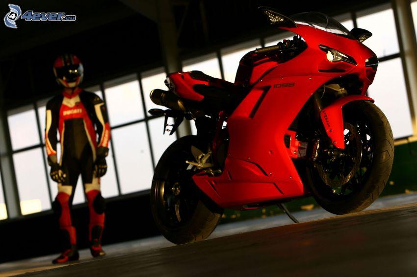 Ducati 1198S Corse, motocyklista