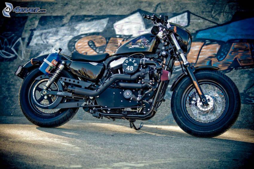 Harley-Davidson, ściana, graffiti
