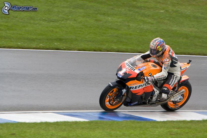 Honda, motocyklista, wyścigi, prędkość, wyścigi, torowe